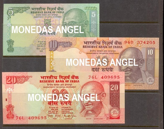 Coleccion 3 billets con Gandhi