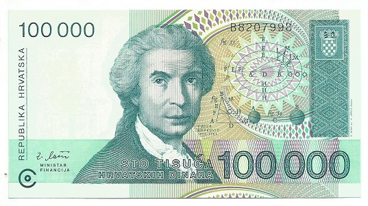Billete Croacia 100,000 dianra